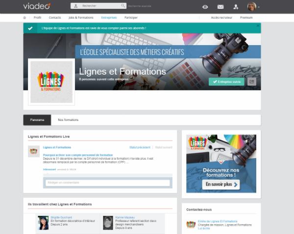 Retrouvez toute l'actualité de Lignes et Formations sur la page Viadeo de l'école
